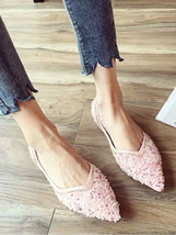 Women Sequin Pink Wedding Shoes,Blush Sequin Bridal Shoes,Pink Ballet fl... - $48.00