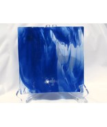 Slumped Glass Wavy Plate, Cobalt and White Stre... - $25.00