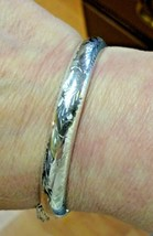 STERLING SILVER ENGRAVED BANGLE BRACELET WITH SAFETY CHAIN - $54.99