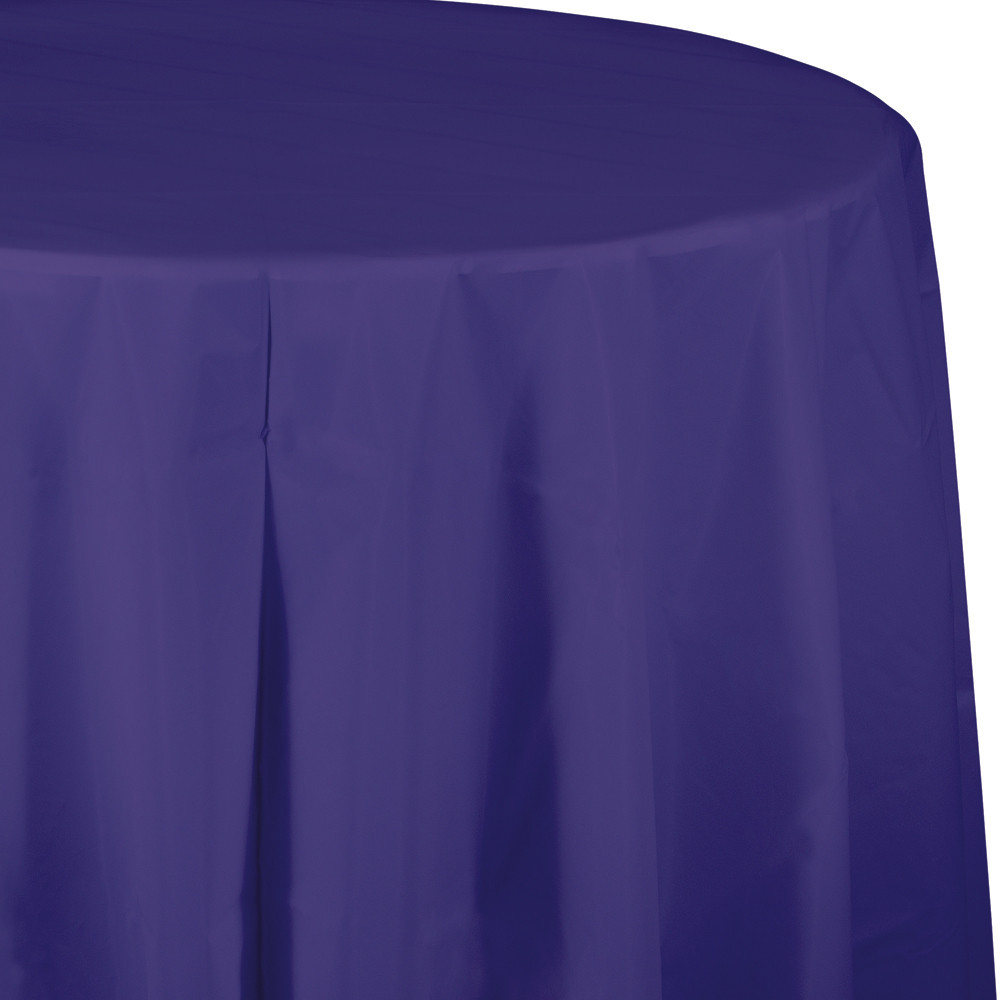 82 inch Plastic OctyRound Tablecover Purple/Case of 12