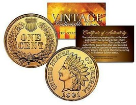 Lot of 2 INDIAN HEAD Cent Pennies U.S. Coins 24K GOLD PLATED Penny with ... - $10.36