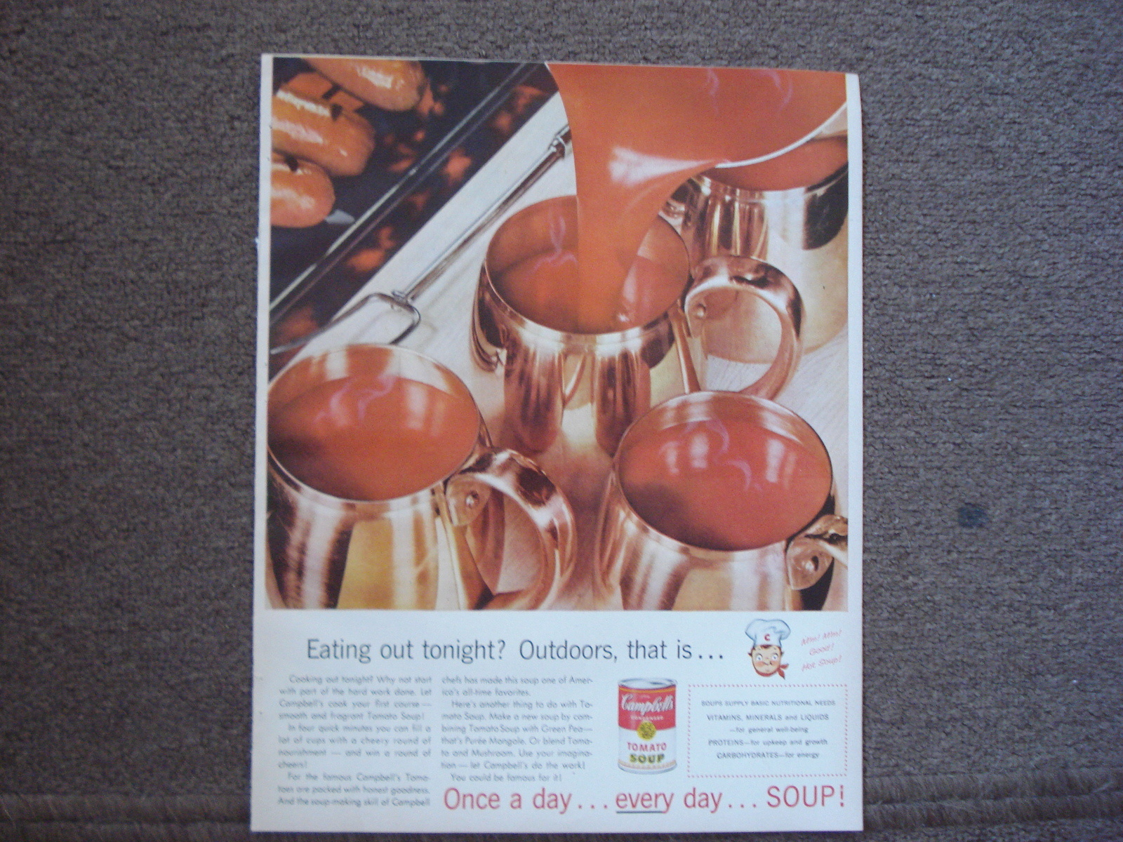 Campbell 39 s soup full page color ad 1956 eating out tonight outdoors that is soup Better homes and gardens tonight