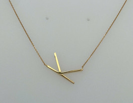"14K Yellow Gold Initial ""K"" Flat Pendant Necklace 16""-18"" - $439.56"