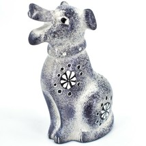 Hand Carved Kenyan Kisii Soapstone Speckled Gray White Happy Puppy Dog Figurine image 2