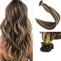 Fshine U Tip Extensions Human Hair 14 Inch Color 3 Highlight With Color 27 Honey