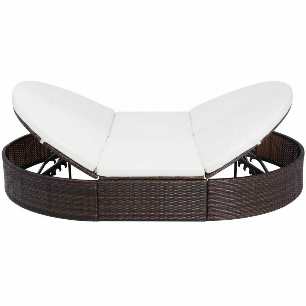 """vidaXL Sunlounger with Cushion Poly Rattan 78.7"""" Lounge Beds Seat Black/Brown image 3"""