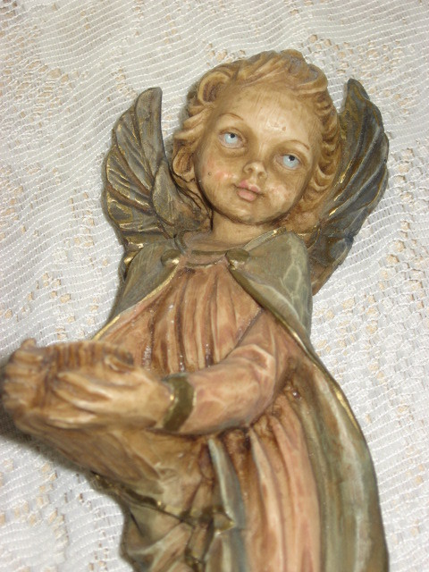 VTG Angel Statue-9 in. w/ 3in. Wing Span--Italy