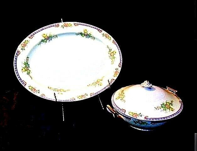 Serving Platter (Tray) and Tureen  AA18-1193  Vintage Meito China Hand Painted