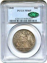 1848 50c PCGS/CAC MS65 - Liberty Seated Half Dollar - Scarce Date P-Mint - $16,731.00