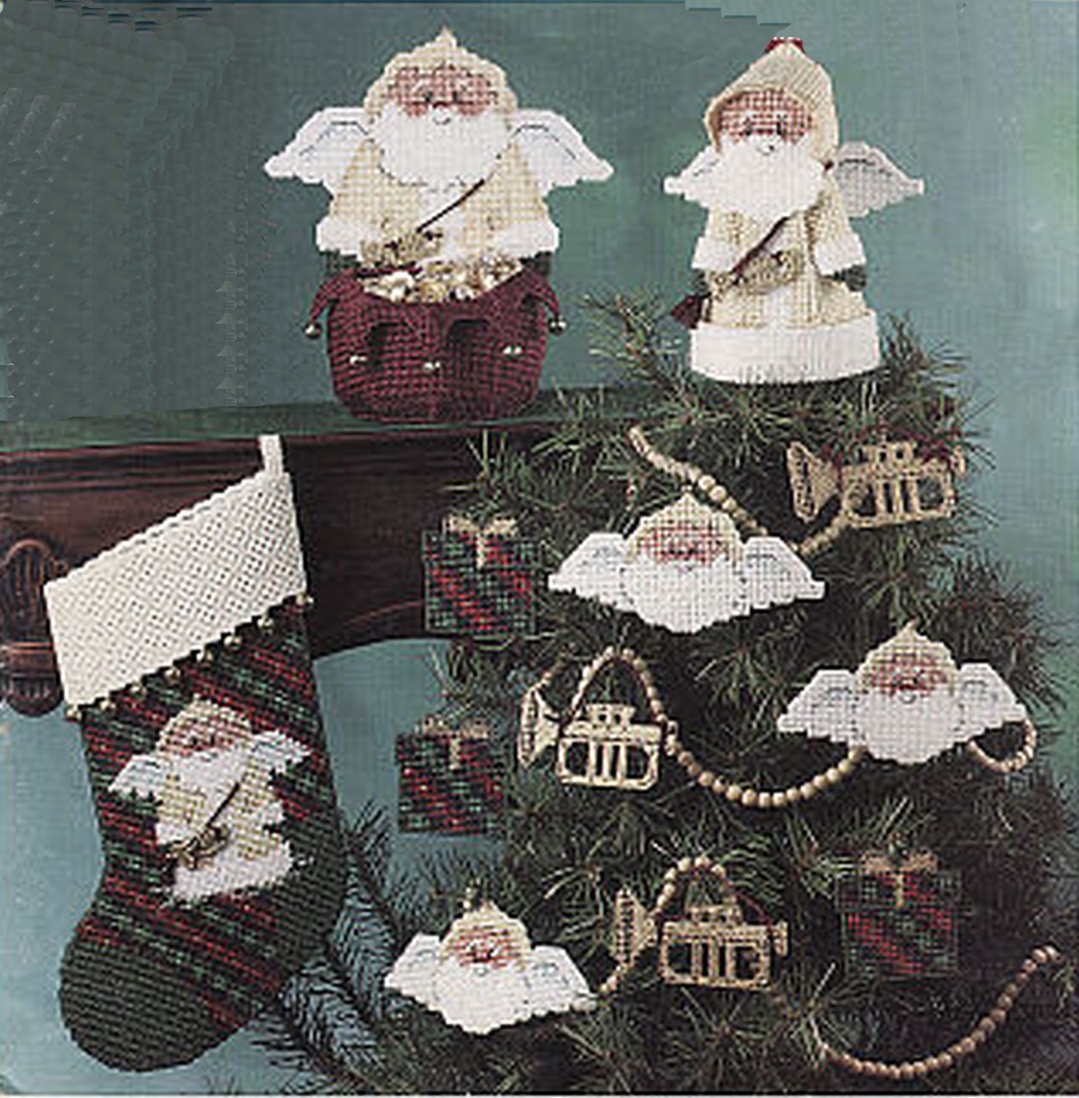 Primary image for Plastic Canvas Christmas Stocking Sleigh Musical Santa Angels Ornament Pattern
