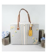 Tory Burch New Ivory Gemini Link Applique Floral Daisy Tote Shoulder Bag... - $291.56
