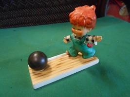"Collectible 1957 Goebel ""Strike"" Redhead Boy Bowling Figurine Free Postage Usa - $27.31"