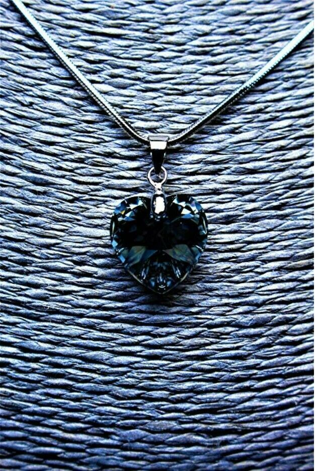 Crystal Necklace for Women Heart Pendant Made with Swarovski Elements 18K White