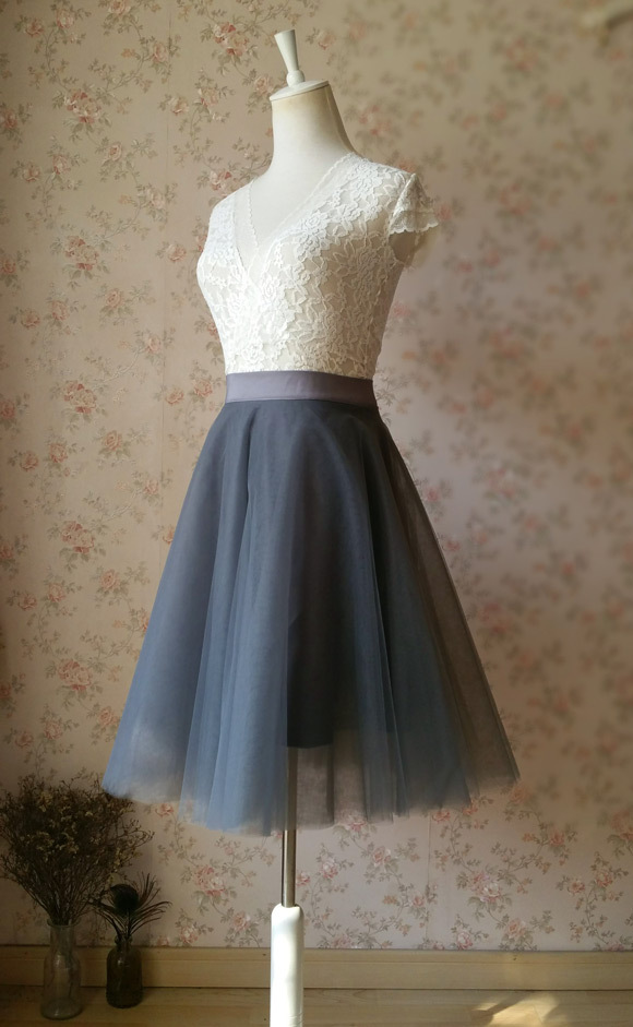 DARK GRAY Tutu Skirt Gray Tulle Midi Skirt Women Gray Skirts Gray Party Skirt