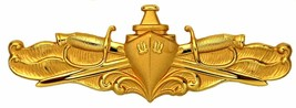 Genuine U.S. Navy Badge: Surface Warfare Officer Gold Breast Badge Pin Insignia - $19.78