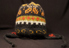 Genuine Peruvian Winter Knitted Hat Chullo Ear Flaps NEW very soft Black... - $9.99