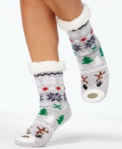 Charter Club Holiday Fleece Gripper Slipper Socks Gray Reindeer - $7.14
