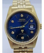 Croton Diamond quartz watch for men c13737 Date 23k Gold Plated - $269.10