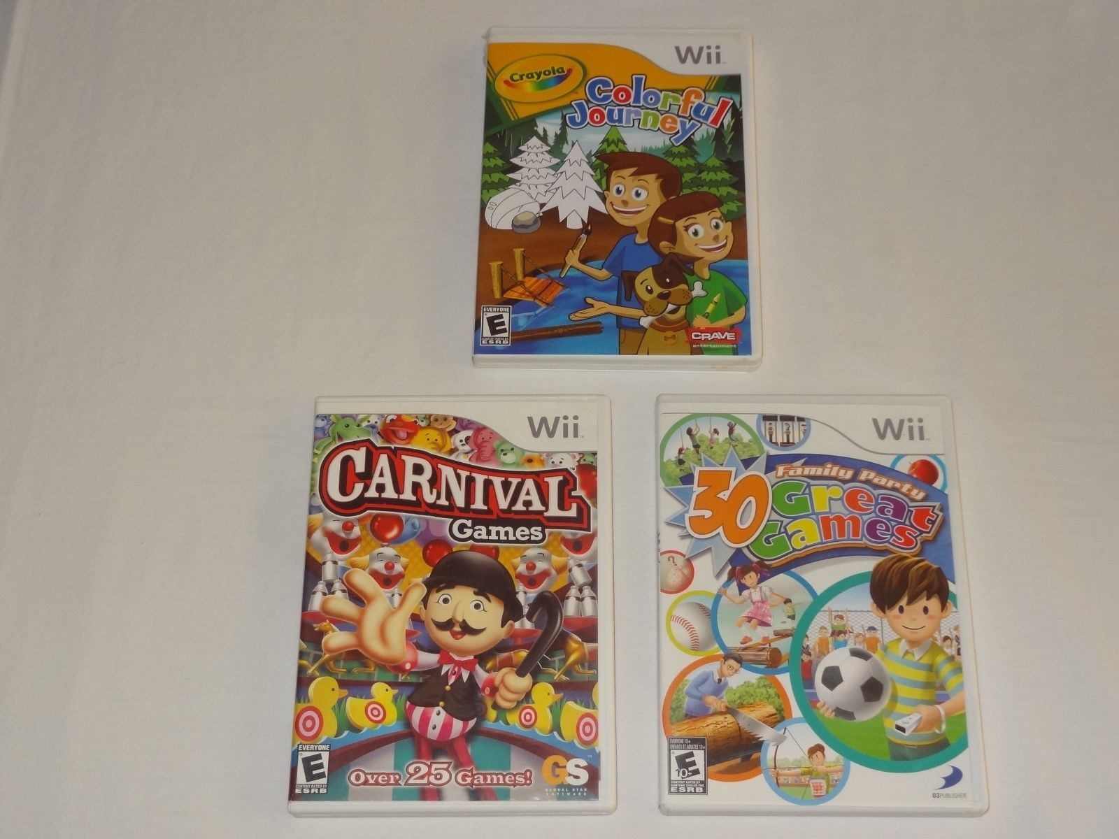 Wii Lot - Carnival Games 30 Great Games Family Party Crayola Colorful Journey