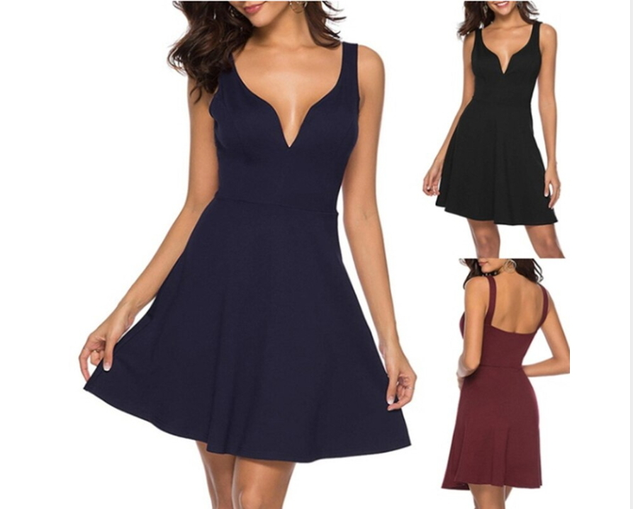 ITCQUALITY WOMEN SUMMER DRESS DEEP V-NECK SOLID BACKLESS FASHION SUMMER ITC1384.