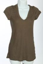 Bcbg Col V Haut T Shirt Femmes Taille COURTE S Vert Foncé B35 - $29.29