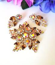 Juliana Brooch & Earring Set, D & E Juliana Jewelry Set, Topaz & AB Rhin... - $115.00