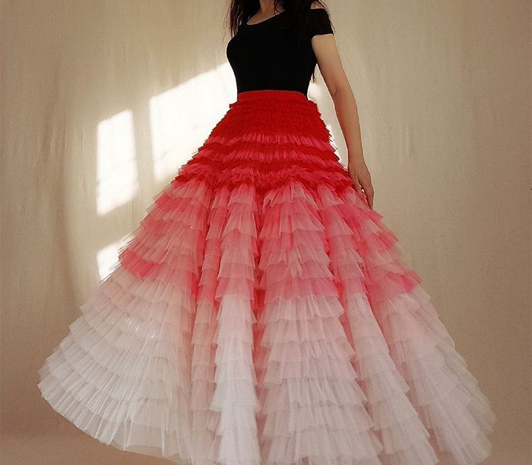 Bridal Tiered Tulle Skirt Outfit A-line Full Tulle Wedding Party Skirt,Red white