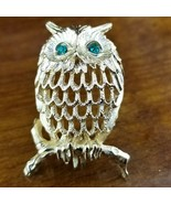 Vintage NAPIER Signed Gold Emerald Green Eyed Owl Perched on Branch Broo... - $29.95
