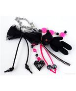 Teddy Bear Bag Charm, Keychain, Purse Charm, Gothic Lolita, Jfashion - $23.00