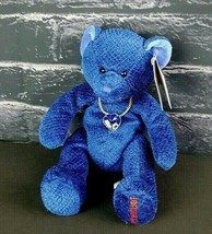 "Russ Bears Of The Month Blue September Teddy Bear Necklace 8"" Tags Stuffed  - $21.77"