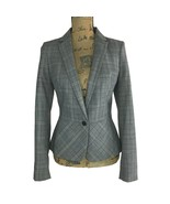 NEW Banana Republic 6 Med Black Black Gray Plaid Tweed Wool Bl Suit Jack... - $32.95