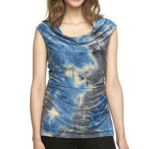 AB Studio Womens Sleeveless Draped Blouse Large Tie Dye Textured Knit To... - $17.20