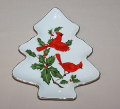 Lefton China Cardinals on Holly Figural Christmas Tree Candy Trinket Dish 04540 - $5.89
