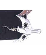 Bird Wings Spread with cut out Stars Silver Tone Figural Fish Hook Earrings - $15.29