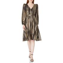 Calvin Klein Women's Long Sleeve V-Neck Dress with Self Belt, Black/Gold, 6 - $54.45