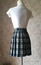Black White Plaid Skirt Women Girl Short Black and White Tartan Skirt Plus Size image 4