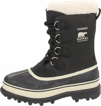 Sorel Women's Waterproof Leather and Suede Black/Stone Caribou Winter Boots NIB