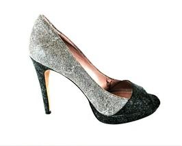 Vince Camuto Black Gray Glitter Peep Toe Pumps Heels Shoes Women's 8 B (SW15) - $69.99