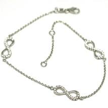 Bracelet or Blanc 18k 750, Chaîne Rolo, Symboles Infini, Zirconia Cubique image 1