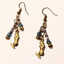 Mermaid light blue purple gold beaded dangle earrings - $13.00