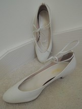 "Ladies Shoes Size 8 M White Leather 2 "" Heels Ankle Tie Pumps $60 Value - $20.99"