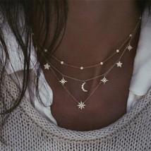 ALYXUY Boho Multilayer Shiny Crystal Stars Moon Bead Necklace Women's Vintage La - $9.78