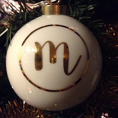 Letter M in Gold on Off White Ceramic Monogram Ornament