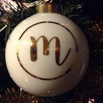 Letter M in Gold on Off White Ceramic Monogram Ornament
