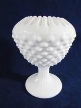 FENTON MILK GLASS HOBNAIL PEDESTAL IVY OR ROSE ... - $22.77