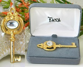 Vintage Tacoa Skeleton Key Pin Brooch Pendant Figural Original Case - $23.95