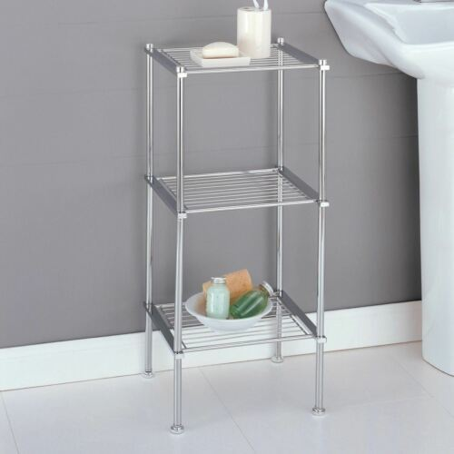Chrome 3 Shelf Storage Rack Wire Shelving Unit Tier Organizer Tower Bathroom