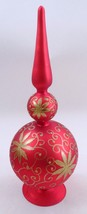 """Large 16"""" Inge Glas Glass Red Satin Tree Topper Spire Spindle Table Deco... - $31.14"""