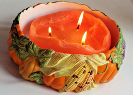 Fall Thanksgiving Bowl Harvest Time 3-wick Candle Holder Partylite P7409 - $16.78