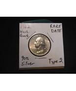 1962 Washington Silver Quarter RARE TYPE 2 REVERSE!!! 90% Coin Silver!!!  - $61.20